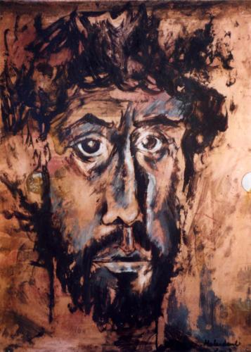 Portrait antique 2, 2003, mixte sur métal, 80x60 cm
