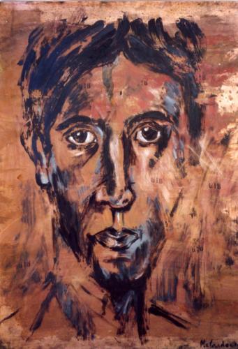 Portrait antique, 2003, mixte sur métal, 80x60 cm