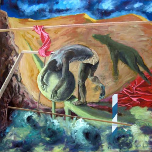 Portrait au rocher, 2008, mixte sur panneau de bois, 122x122 cm