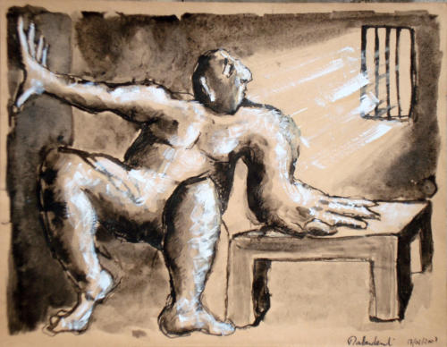 Prisonnier, 2006, mixte sur papier, 25x32 cm