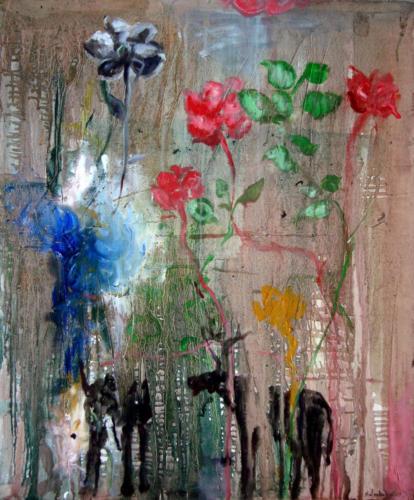 RENCONTRE, 2013, mixte sur toile, 65x54 cm