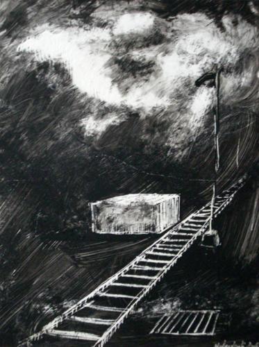 Rails, 2006, encre sur papier, 30x21 cm