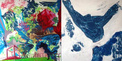 Résidu, 2009, mixte sur toiles, 200x100 cm