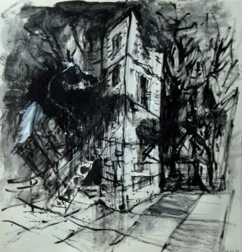 Rennes le Château by night, encre ur papier, 24 x 24 cm