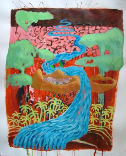 Rivière dans un paysage, 2004, mixte sur papier, 65x50 cm