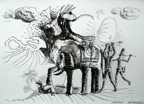 Safari, 2009, encre sur papier, 21x29 cm