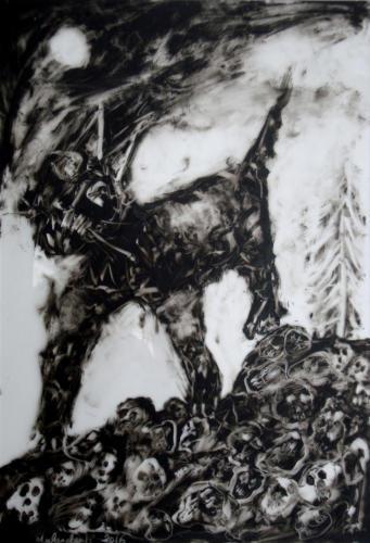 Sans mot, 2016, encre sur plexi, 53 x 36 cm