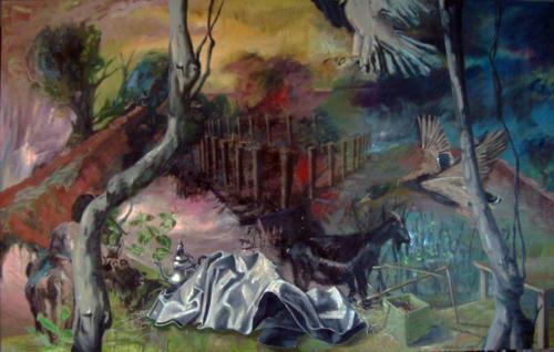 Sans titre, 2013, mixte sur toile, 130x195 cm