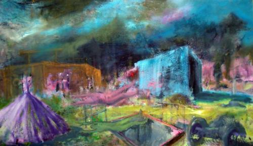 Saut - passage à un état différent, 2017, mixte sur toile, 70 x 130 cm