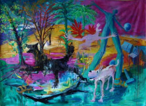 Sauvagerie, 2019, mixte sur toile, 150 x 200 cm