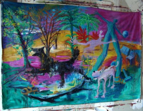 Sauvagerie, 2019, mixte sur toile, 200 x 150 cm