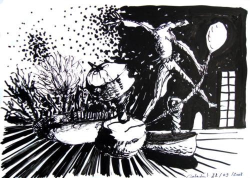 Scène au billot, 2009, encre su rpapier, 30x21 cm