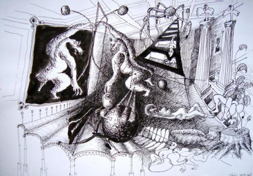 Scène de rêve, 2007, encre sur papier, 50 x 65 cm