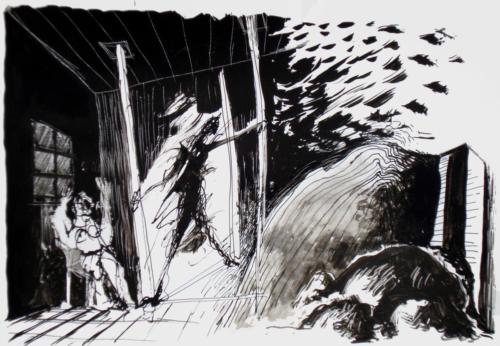 Scène en contre jour, 2009, encre sur papier, 21x30 cm