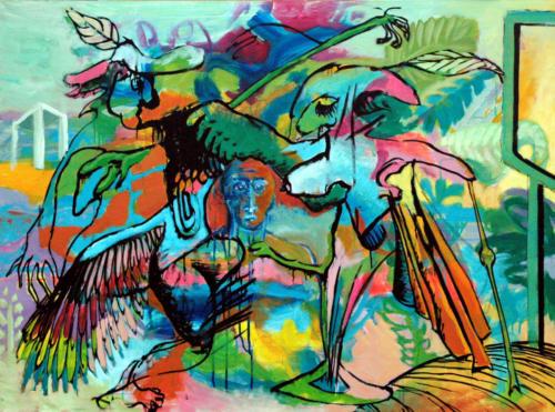 Scène-particulière-n°1-2005-mixte-sur-toile-97x130-cm