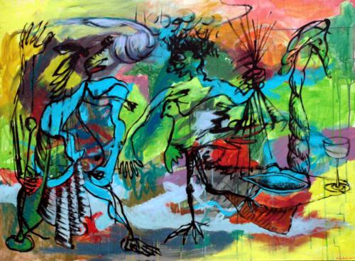Scène-particulière-n°2-2005-mixte-sur-toile-97x130-cm