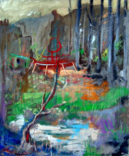 Sous-bois, 2013, mixte sur toile, 65x50cm