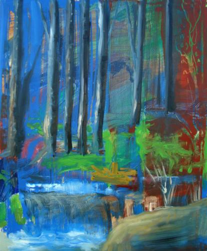 Sous bois n°4, 2017, mixte sur toile, 65 x 54 cm