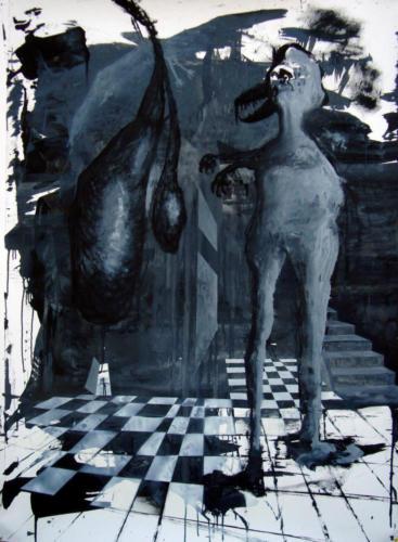 Suspendu, 2017, encre sur papier, 150 x 110 cm