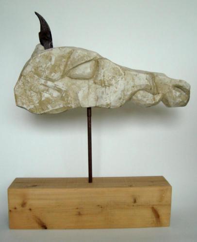 Tête de cheval, 2017, bois, plâtre, métal, 70 x 65 x 15 cm
