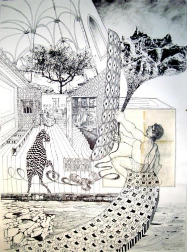 Tempo, 2012, encre sur papier, 150 x 110 cm