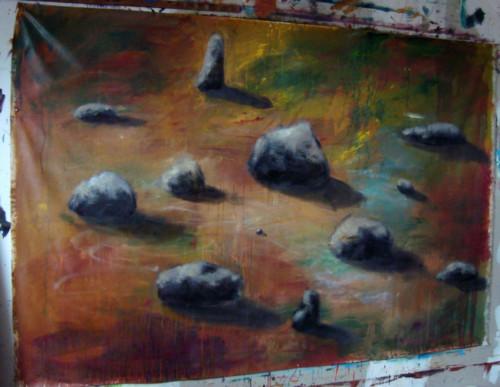 Terrain, 2020, mixte sur toile, 150 x 200 cm