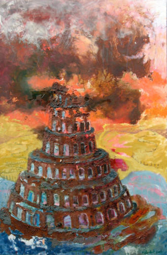 Tour-de-Babel-n°1-2005-mixte-sur-toile-146x97-cm
