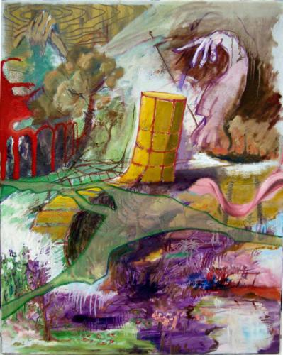 Tour jaune, 2013-mixte sur toile, 100x80 cm