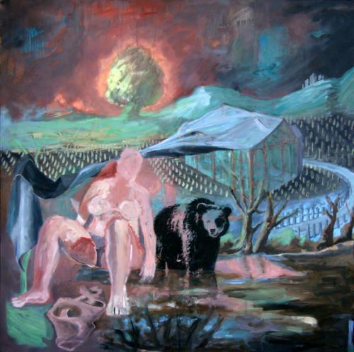 Tout cela est bien sombre, 2009, huile sur toile, 150x150 cm