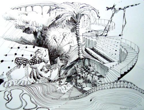 Trac, 2012, encre sur papier, 50x65 cm