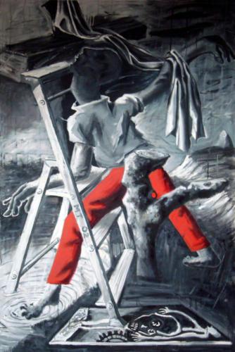 Triptyque à l'escabeau-Le pantalon rouge, 2016, mixte sur toile, 195 x 130 cm