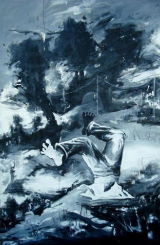Triptyque à l'escabeau-Plongeur n°2, 2016, huile sur toile, 195 x 130 cm