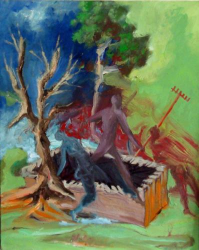 Trois des bergers d'Arcadie, 2013, mixte sur toile, 50x40 cm