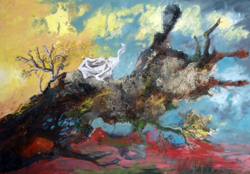 Tronc, 2008, mixte sur toile, 195x130 cm
