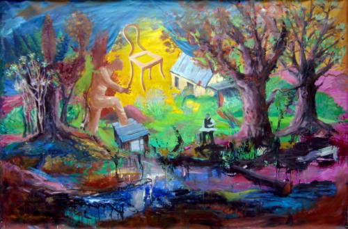 Un rêve, 2019, mixte sur toile, 195 x 130 cm