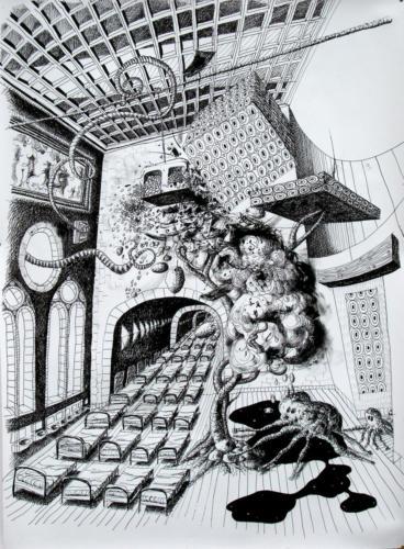 Vaguement rêvé, 2008, encre sur papier, 150x110 cm