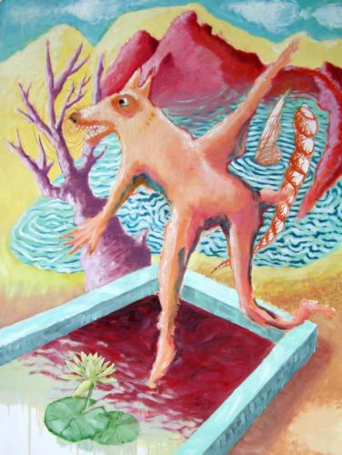 le loup, 2006, hule sur papier, 100 x 70 cm