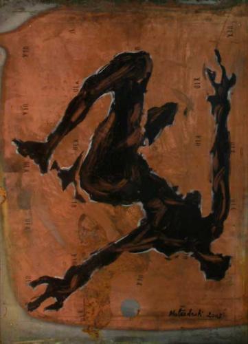 personnage alliongé, 2004, encre sur cuivre, 70 x 60 cm