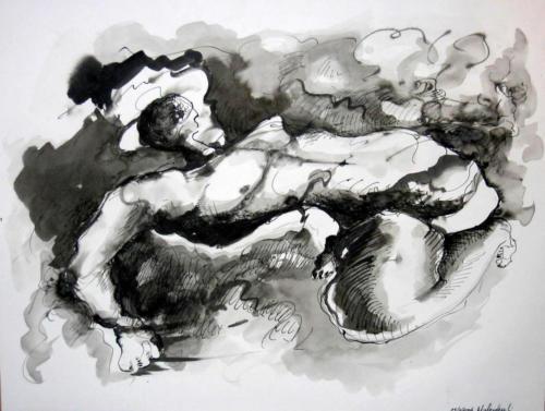 personnage flottant, 2005, encre sur papier, 65x50 cm