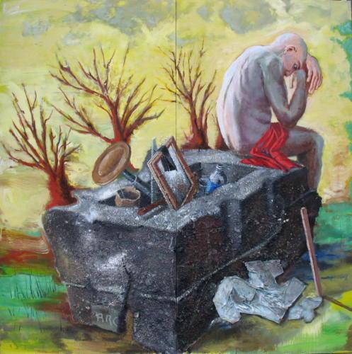 Arcadie, 2006, mixte sur toiles, 195x195