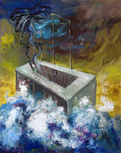 Béton dans la mer, 2006, mixte sur toile, 94x73 cm