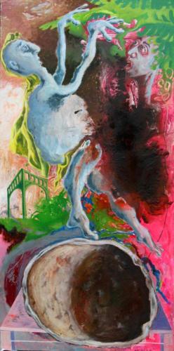 Bonimenteur, 2006, mixte sur toile, 195x97 cm