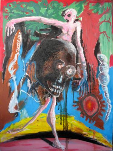 Danse macabre, 2006, mixte sur toile, 130x97 cm
