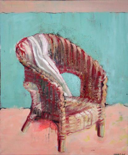 Fauteuil et drapé, 2006, mixte sur toile, 65x54 cm