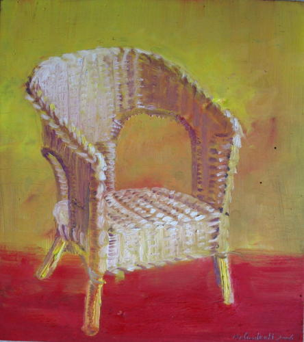 Fauteuil n°5, 2006, huile sur bois, 30x27 cm