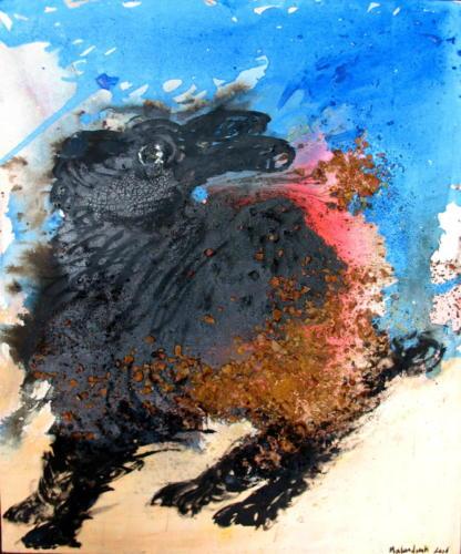 Lapin, 2006, mixte sur toile, 64x54 cm