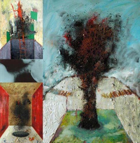Les essaims, 2006, mixte sur bois, 93x90 cm