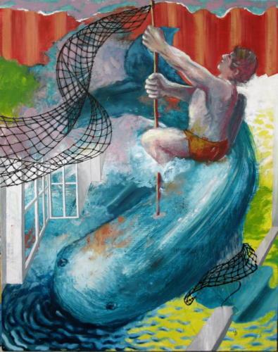 Partie de pêche, 2006, mixte sur toile, 64x54 cm