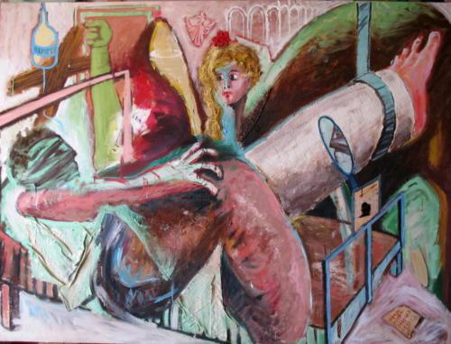 Personnage plâtré, 2006, mixte sur toile, 150x200 cm