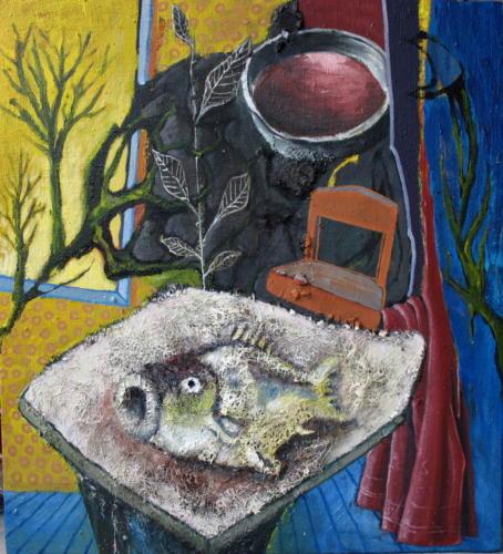 Table au poisson, 2006, mixte sur toile, 90x100 cm